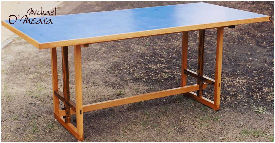 Custom made blue topped table