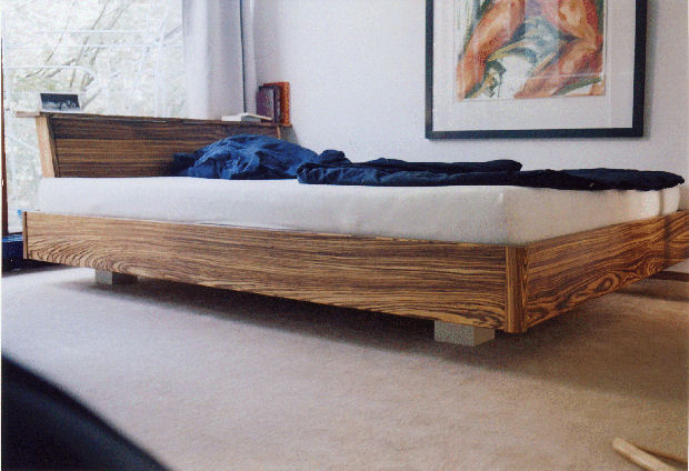 Custom Double Bed Made From Zebra Wood By A Berlin Based Artisan